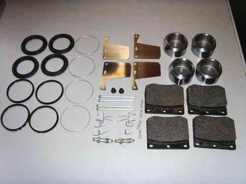 Complete kit for rebuilding the front Calipers on a late Rover P6 2000 or 2200 including pads  16PB