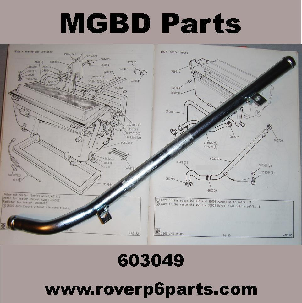 Outlet pipe under manifold for coolant rover p